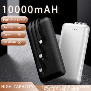 pazari4all.gr-Power Bank 10000mAh Portable Fast Charger με 3 καλώδια για smartphone