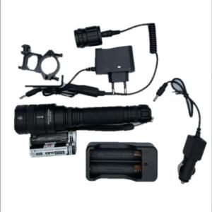 Υπέρ υψηλής φωτεινότητας επαναφορτιζόμενος φακός CREE LED FA-Q129-P50 με ζουμ & 2 μπαταρίες.-pazari4all.gr