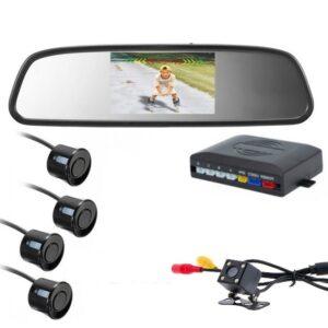 """Αισθητήρες Παρκαρίσματος & Καθρέφτης Αυτοκινήτου με Οθόνη LCD 4,3"""", Κάμερα Οπισθοπορείας LED & Ηχητική Ειδοποίηση - Σύστημα Σετ Παρκαρίσματος Mirror Parking Sensor-pazari4all.gr"""
