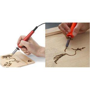 VΠυρογράφος κολλητήρι 60W για σκάλισμα σε ξύλο με 6 διαφορετικές κεφαλές για καλλιτεχνικές-pazari4all.gr