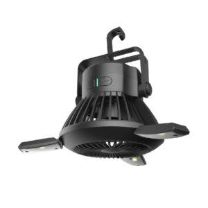 Ηλιακό Φορητό Φωτιστικό & Ανεμιστήρας με Λειτουργία Powerbank – Μαύρο-pazari4all.gr