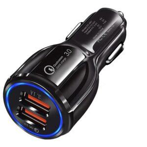 pazari4all.gr-Φορτιστής αυτοκινήτου διασύνδεσης 2 USB LZ-681 Round QC3.0 USB + 3.1A