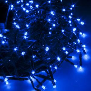 pazari4all-200 LED Λαμπάκια με Πράσινο Καλώδιο – Μπλε με Controller