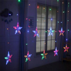 pazari4all-LED Χριστουγεννιάτικα Φωτάκια Κουρτίνα 3m σε Σχήμα Αστεριών σε RGB – LED Christmas Lights