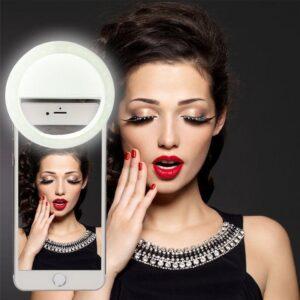 pazari4all-Selfie Ring Light Επαναφορτιζόμενο LED για Selfie ΛΕΥΚΟ