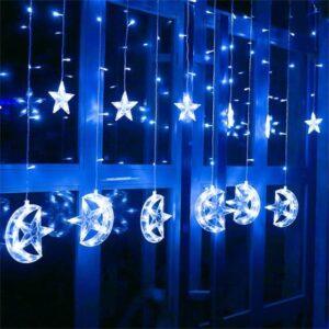pazari4all-Χριστουγεννιάτικη LED Κουρτίνα Ασύμμετρη 3m Αστέρια - Φεγγάρια σε Λευκό Ψυχρό