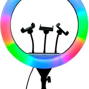pazari4all-RGB Φωτογραφικό Φωτιστικό Δαχτυλίδι LED 26cm Πολύχρωμο USB με Βάση Στήριξης Κινητού - Ring Light Lamp OEM