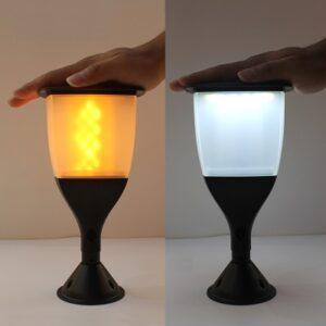 pazari4all-Ηλιακό Φωτιστικό LED Με Εφέ Φλόγας και αισθητήρα Φωτός Εξωτερικού Χώρου Τύπου Δάδας CF-992