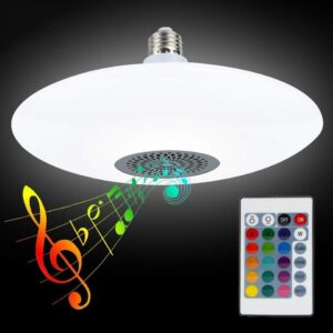 pazari4all-LED RGB UFO Μουσική Έξυπνη Λάμπα Οροφής / Bluetooth App / 24W με Χειριστήριο Εναλλαγής Χρωμάτων