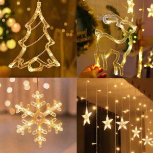 pazari4all-LED Χριστουγεννιάτικα Φωτάκια Κουρτίνα 3μ σε Σχήμα Ελαφιού - Ελάτου - Χιονονιφάδας - Μικρά Αστέρια με Λευκό Θερμό Φως - LED Christmas Lights