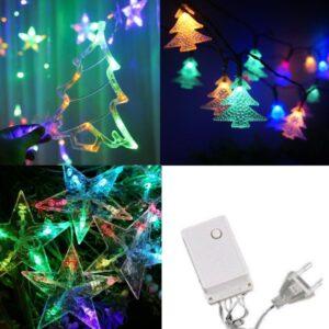 pazari4all-LED Χριστουγεννιάτικα Φωτάκια Κουρτίνα 3m σε Σχήμα Ελάτου – Αστεριών – Μικρών Δέντρων σε RGB – LED Christmas Lights