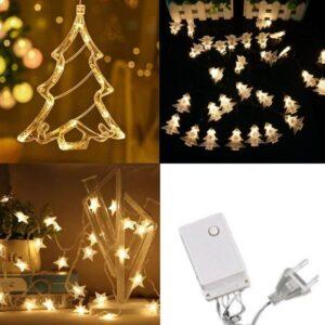 pazari4all-LED Χριστουγεννιάτικα Φωτάκια Κουρτίνα 3m σε Σχήμα Ελάτου – Αστεριών – Μικρών Δέντρων με Λευκό Θερμό Φώς – LED Christmas Lights