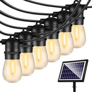 Ηλιακές Αδιάβροχες Διακοσμητικές 15x Λάμπες Γιρλάντα LED Θερμού Φωτισμού 15m, Φωτοβολταϊκό Πάνελ με Φωτοκύτταρο OEM.-pazari4all.gr