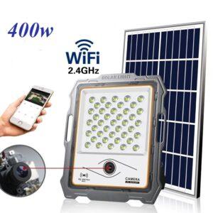 pazari4all-Υψηλής φωτεινότητας εξωτερικός ηλιακός προβολέας με κάμερα CCTV και wifi 400W MJ-DW904