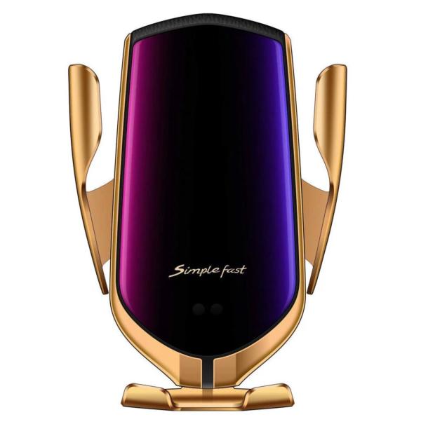 pazari4all-Βάση Κινητού Τηλεφώνου με Ασύρματη Φόρτιση - Smart Sensor R1 Χρυσό
