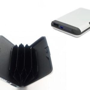 pazari4all-Πορτοφόλι Αλουμινίου Καρτών - Powerbank 2 Σε 1 E-charge wallet