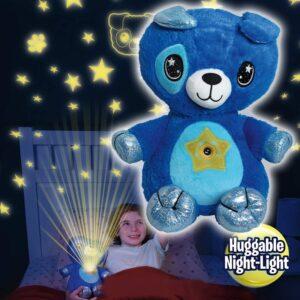 pazari4all-Starry Teddy Προτζέκτορας Αστεριών, Λούτρινο Αρκουδάκι 30cm & Νυχτερινό Φωτιστικό LED Νανουρίσματος - Μπλε Bear